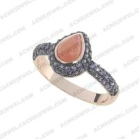 Rings 925 sterling silver  2-tone Rose gold and black rhodium